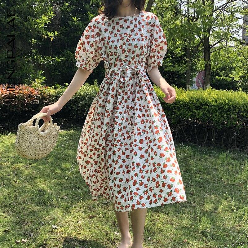 SHENGPALAE 2020 New Summer Women Vintage Loose High Waist Slim Was Thin Elegant Wild Square Collar Floral Maxi Dress ZA4482