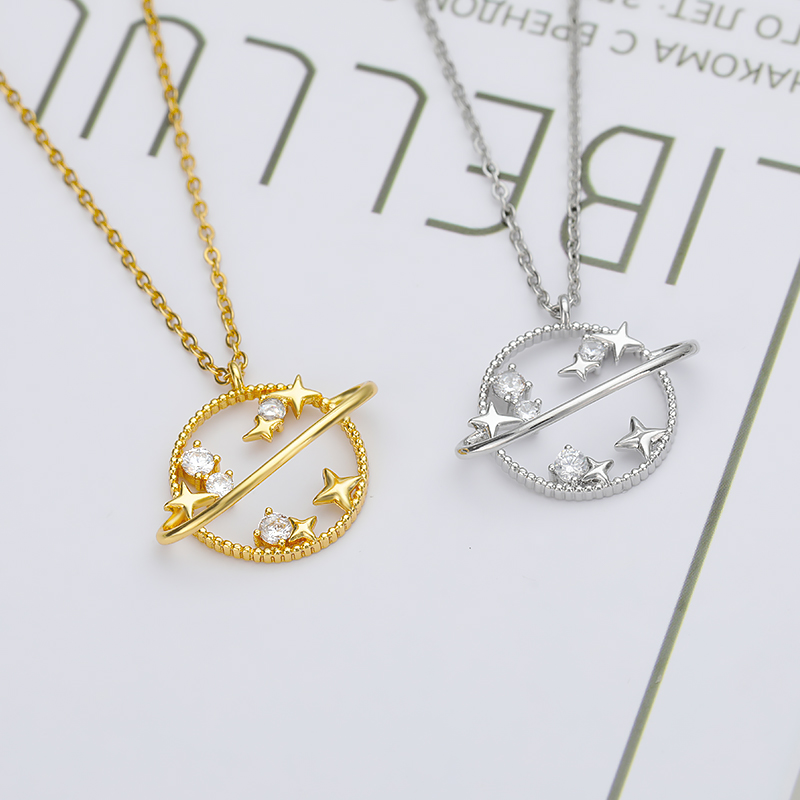 Planet Star Pendant Necklace For Women Gold Silver Color 4