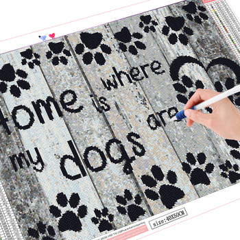 HUACAN 5d Diamond Painting Home Is Where My Dogs Are Diamond Embroidery Full Layout Mosaic
