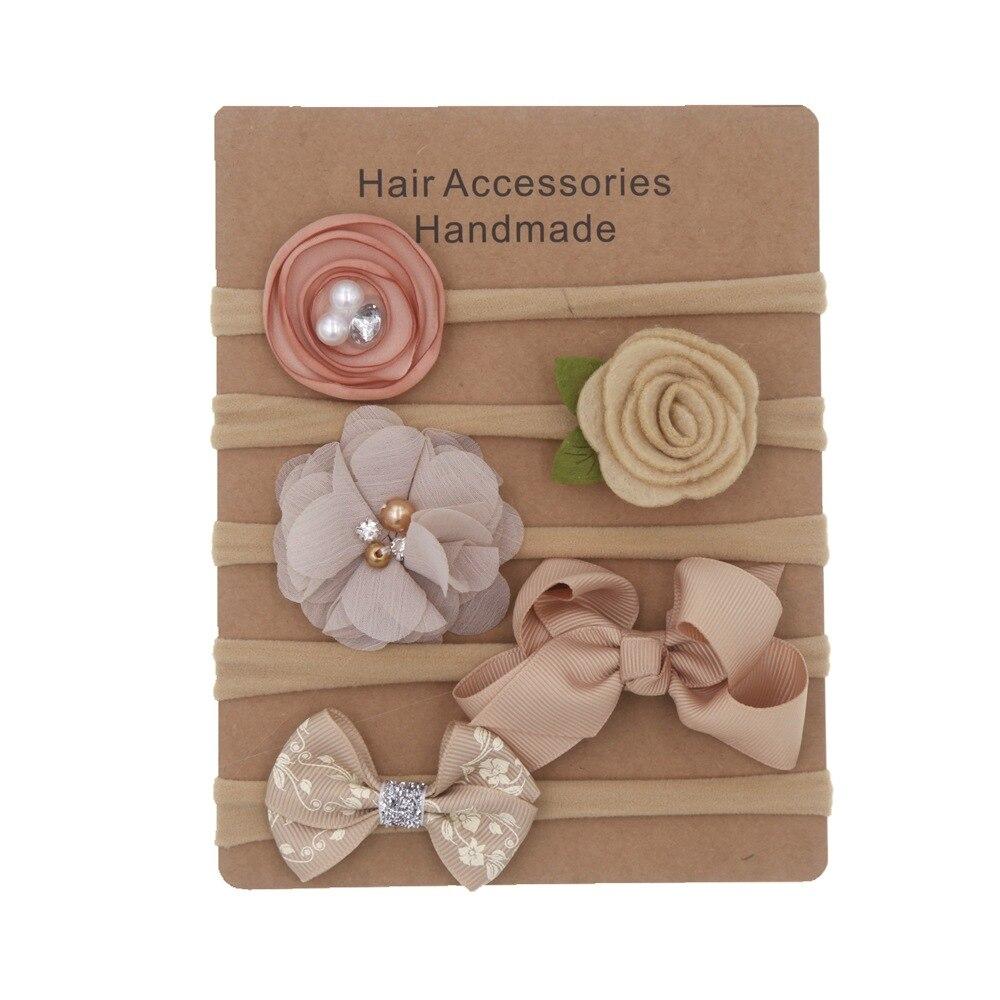 5Pcs/lot Baby Headband Bows Flower Nylon Headbands Children Hair Band Hair Ornaments Set Baby Hair Accessories Photography Props
