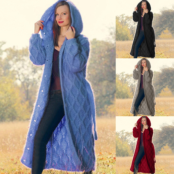 Long Cardigan Coat Women Loose Hooded Sweaters Thick Knitted Warm Sweater Coat Female Winter Casual Oversized Solid Button Coat danjeaner autumn winter knitted sweater cardigan women winter thick jacket loose plus size long sweaters coat with pockets