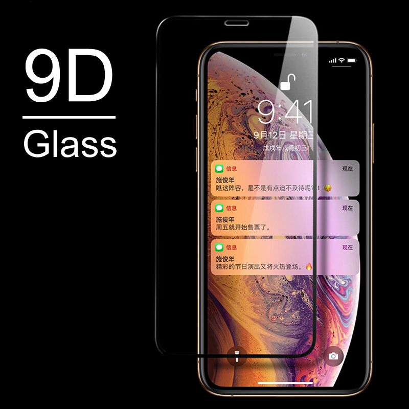 Full Cover Front Glass On The For iPhone XS MAX XR X Screen Protector 9D Tempered Glass For iPhone X XS Max Protective Glass in Phone Screen Protectors from Cellphones Telecommunications