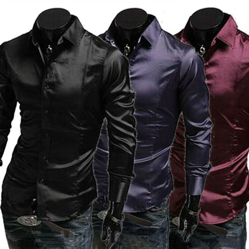 Fashion Men's Solid Silk Blend Shirt Long Sleeve Single Breasted 3 Colors Casual Formal Business Party Shirt 2019 New