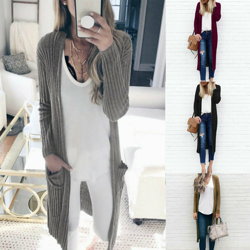 Women's Autumn Casual Long Soft Comfortable Strong Dangling Simple Color  Round Loose Thin Batwing Pocket Cardigan