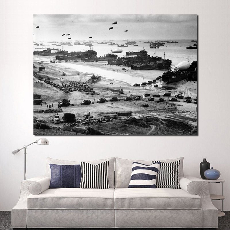 World War II Normandy landing Airplane Black White Art Canvas Poster Painting Wall Picture Print Modern Home Bedroom Decoration image