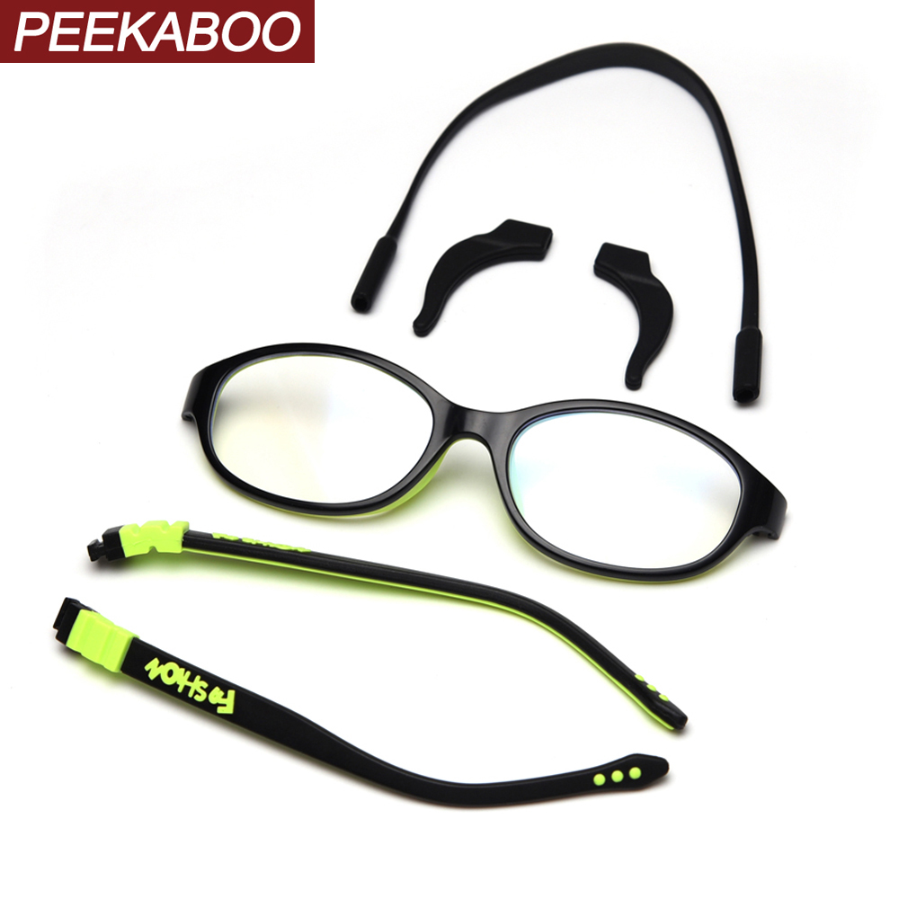 Peekaboo Ultralight Boys Glasses For Kids Anti Blue Light Silicone Eyewear Optical Eyeglasses For Children Student Green Black