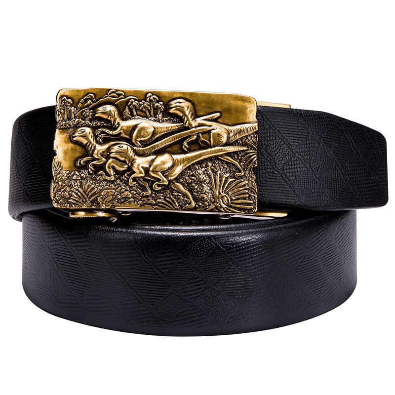 Hi-Tie luxury Brand Box Belt Men Gold Buckle High Quality Cowhide Genuine Leather Men's Waist Belt Jeans Strap Automatic 160CM