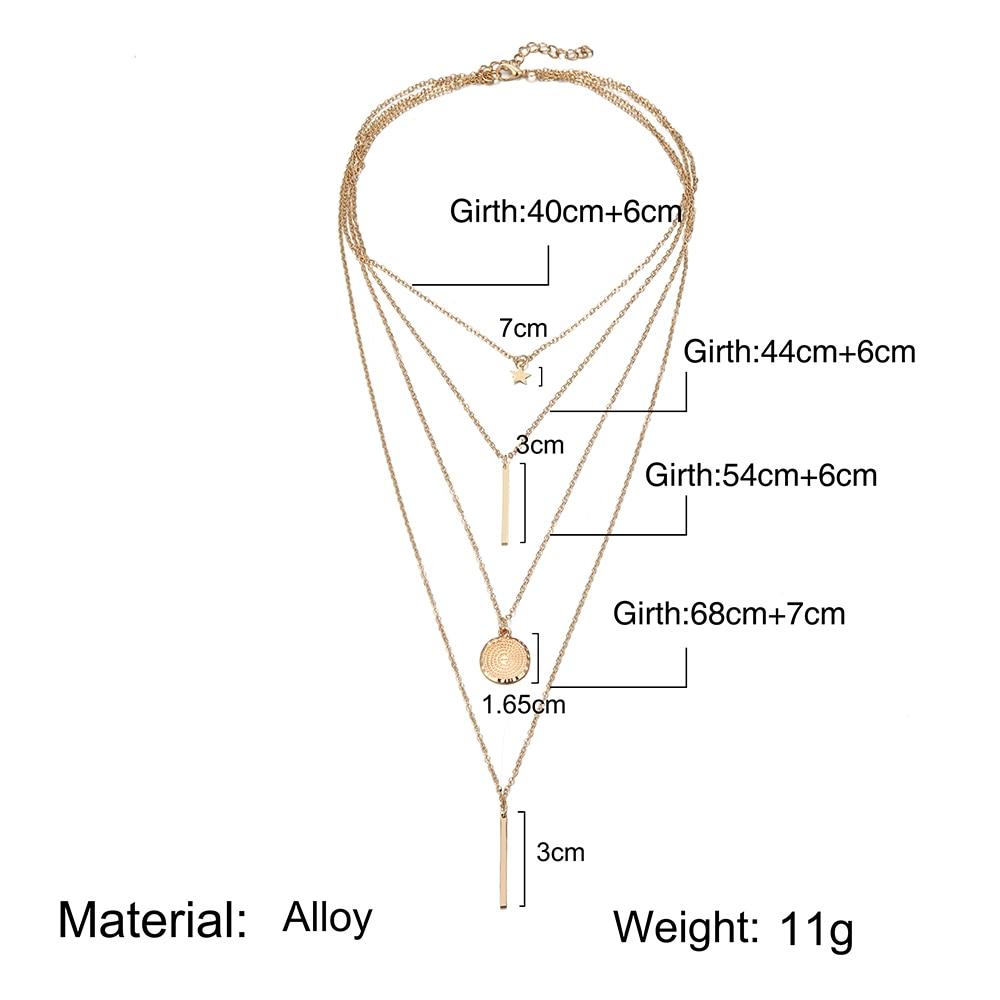 Vintage Multilayer Crystal Pendant Necklace Gold
