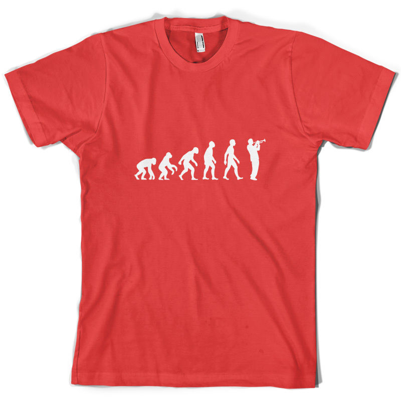 Evolution Of Man Trumpet Player - Mens T-Shirt - Trumpeter -  Print T Shirt Mens Short Sleeve Hotmans Unique Cotton Freeshipping