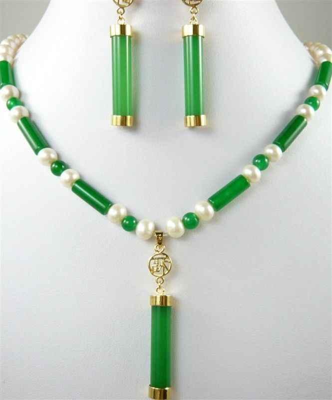 DYY очаровательное зеленое/Белое жемчужное ожерелье + нефритовая подвеска серьги