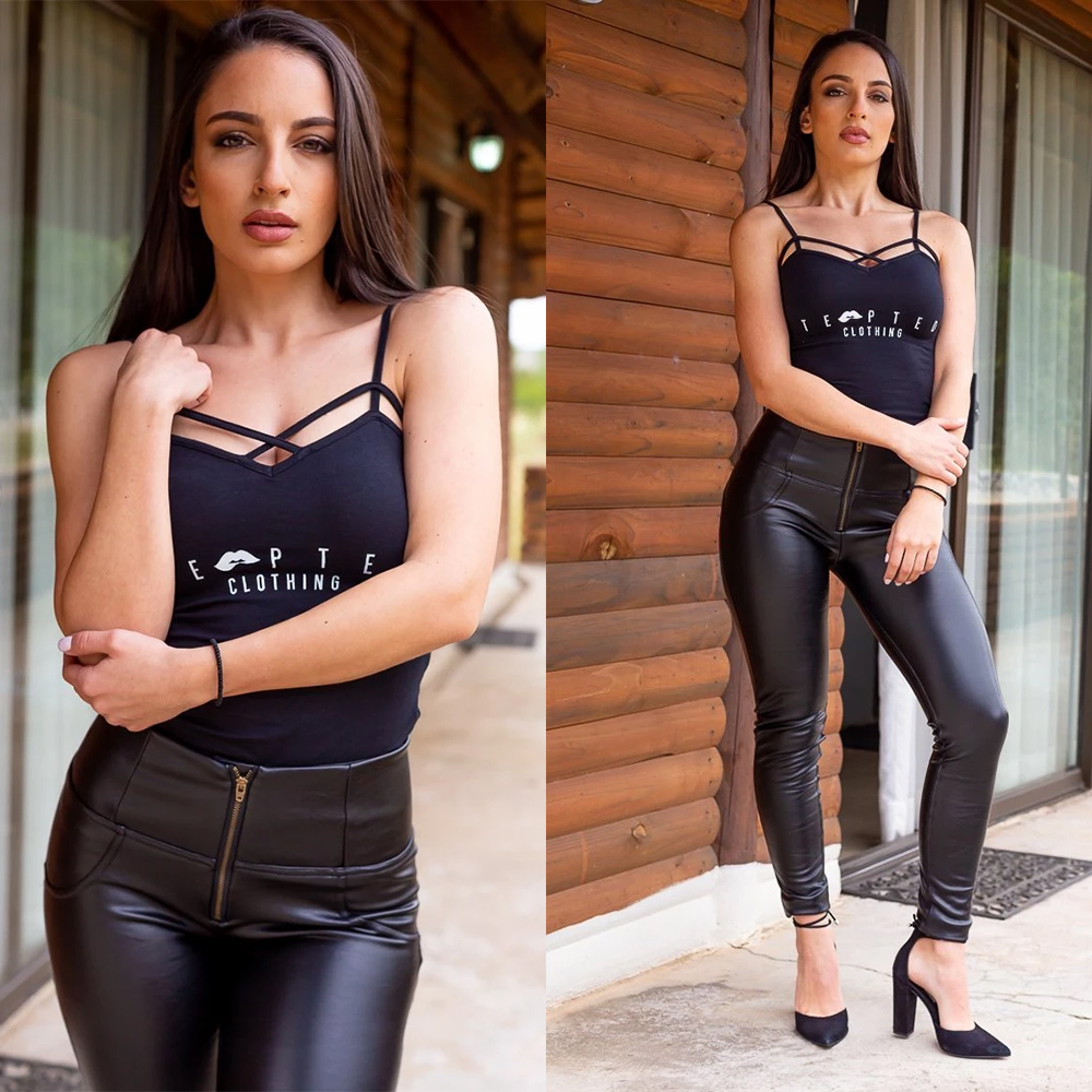 Melody High Waist Faux Leather Pants For Women Zipper Fly Shinning Pu Leather Trousers With Fleece Lined Warm In Winter