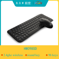 B.O.W Slim 2.4Ghz 96 keys(Round) Wireless Keyboard  Ultra-slim silent  mouse and Keyboard  kits for PC/Laptop with USB port