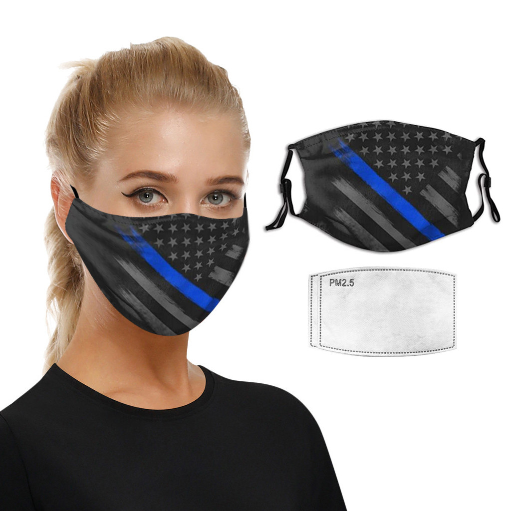 Dust mask 2PC Filters cotton breathable printed washable dustproof coldproof unisex Adjustable earloop face cover Mascarilla