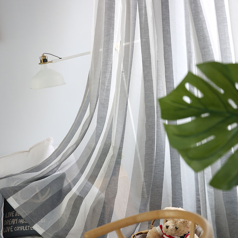 Gray Linen Stripe Tulle Curtains For Living Room Bedroom  Window Sheer Curtains Modern Voile Curtains Fabrics Drapes