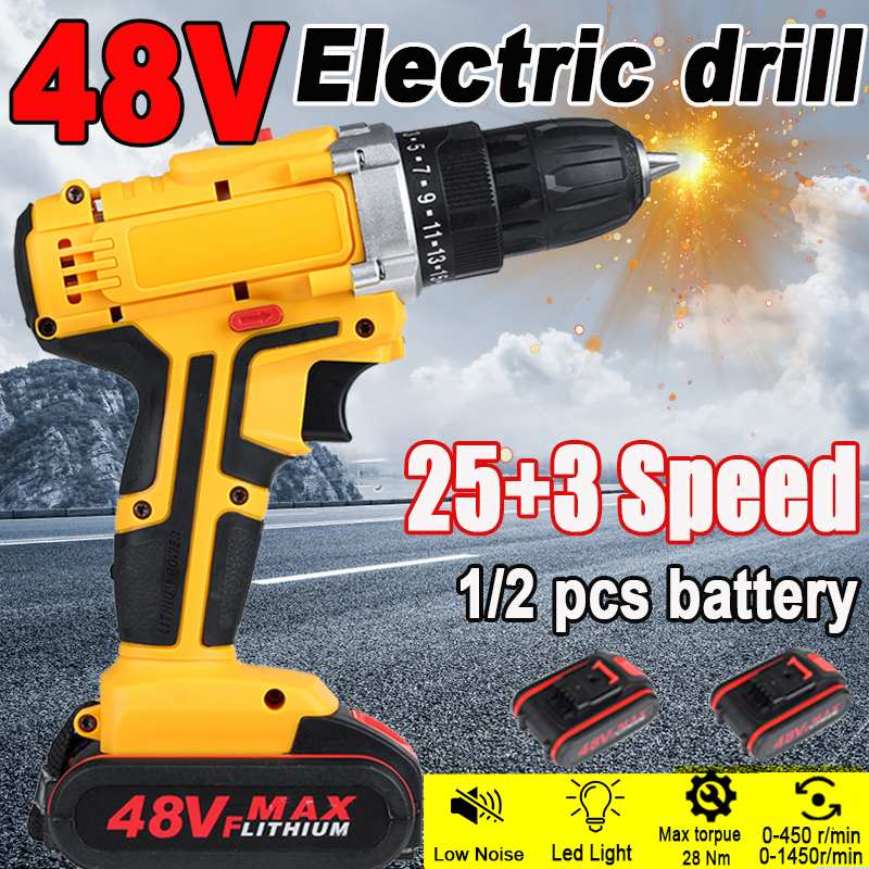 48V Electric Drill Double Speed 1/2 Lithium-Ion Battery Cordless Drill Household Rechargeable Electric Screwdriver Power Tools
