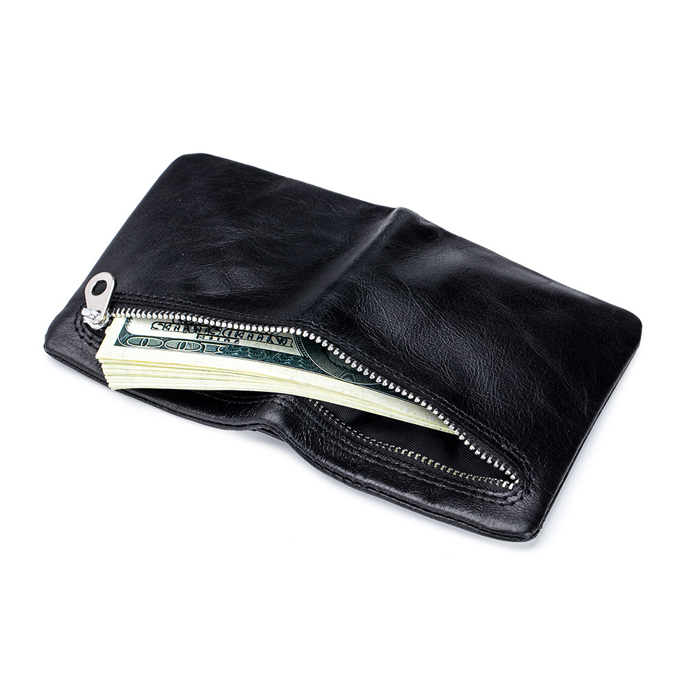 2020 Genuine Leather Men Wallets Small Mini Card Holder Wallet Pocket for Women Retro Oil Wax Leather Purse High Quality Portfel
