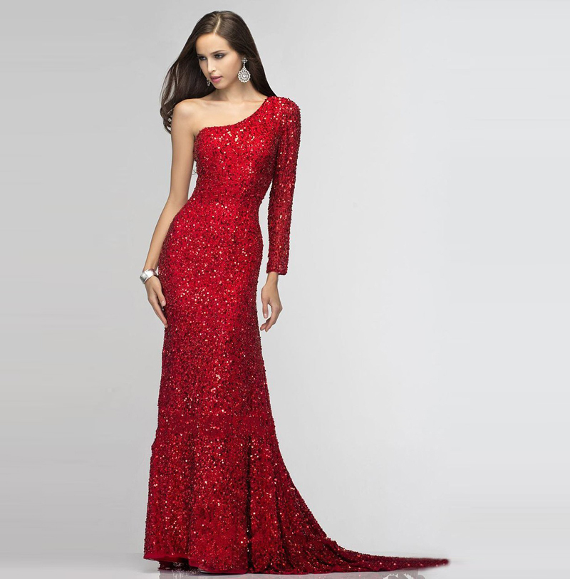 Red Sequins Beaded Elegant Long Sleeve One Shoulder Sexy Sweep Train Floor Length Robe De Soiree 2018 Bridesmaid Dresses