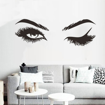 Lash & Brows Eyes Quote Wall Stickers Fashion Vinyl Eyelashes Wall Decals For Girls Bedroom Eyebrows Store Beauty Salon Decor