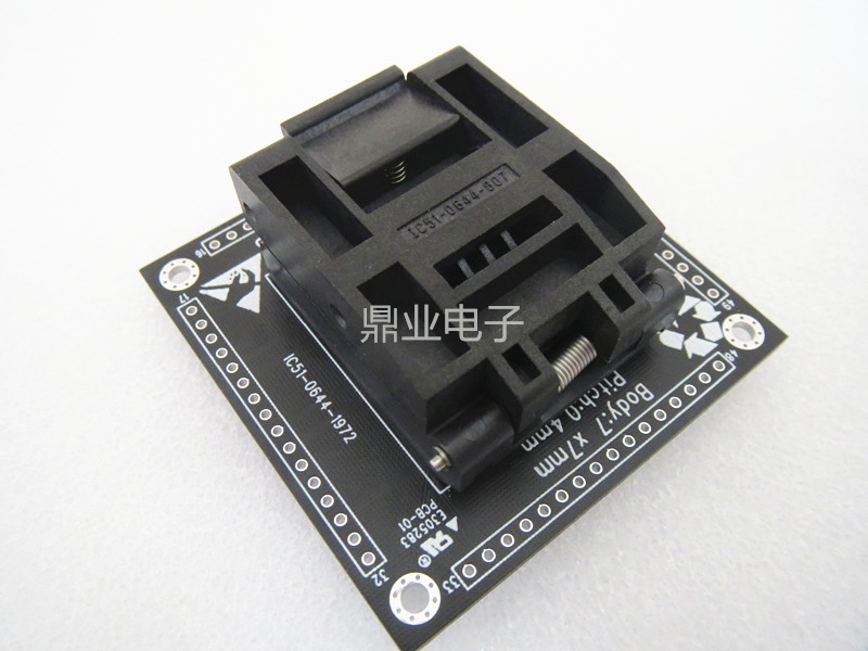 Clamshell LQFP64/DIP IC51 0644 1972 7mm*7mm*0.4mm spacing 0.4mm  IC Burning seat Adapter testing seat Test Socket test bench|Networking Tools|Computer & Office - title=