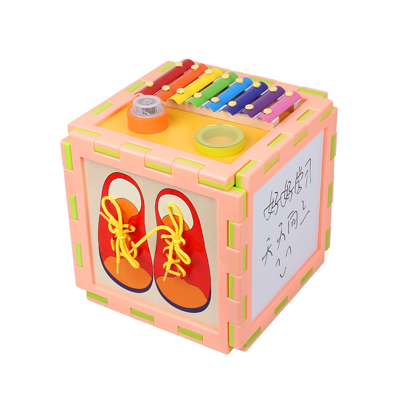 Children Wooden Large Size Multi-functional Educational Bead-stringing Toy Treasure Chest Infants Early Education Parent And Chi