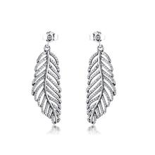 Женские серьги капли из настоящего стерлингового серебра 925 пробы с сверкающими перьями, светильник в виде перьев, модные ювелирные изделия brincos kralen