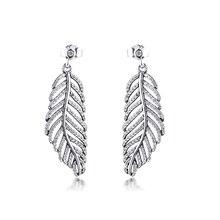 Genuine 925 Sterling Silver Sparkling Feather Drop Earrings for Women Light as a Feather Earrings Fashion Jewelry brincos kralen