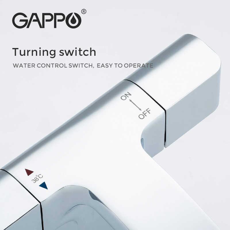 GAPPO Thermostatic Showerชุดห้องน้ำก๊อกน้ำ + ทองเหลืองก๊อกน้ำอ่างล้างหน้าน้ำตกอ่างอาบน้ำระบบThermostatic Mixer
