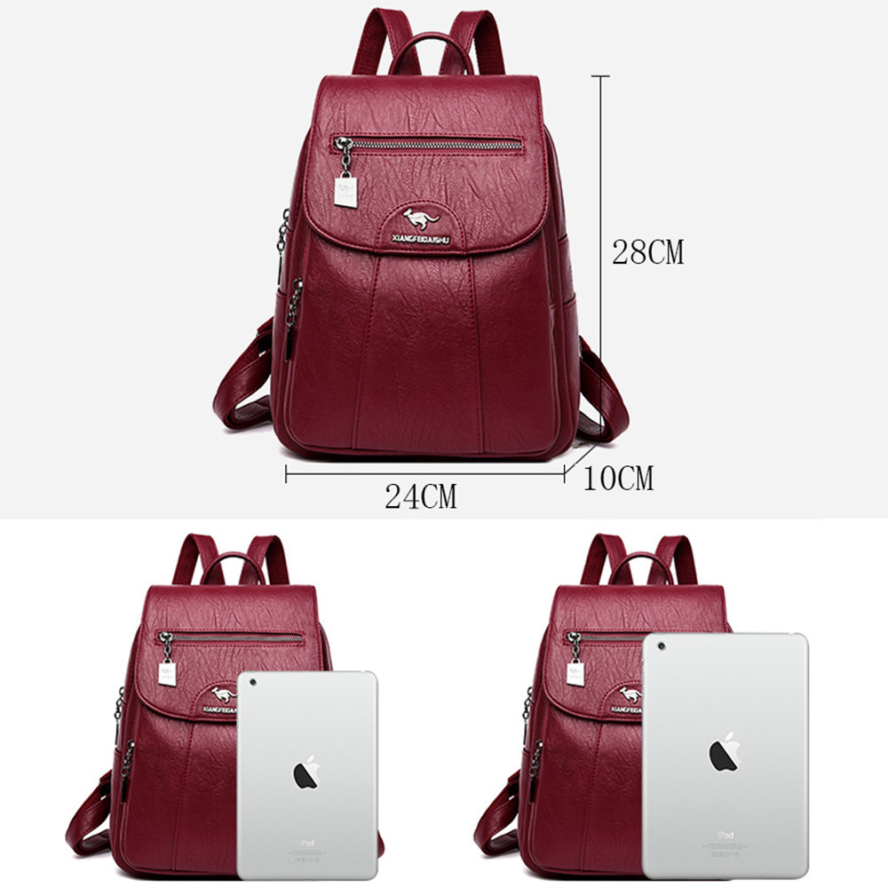 Image 4 - Women Soft Leather Backpacks Vintage Female Shoulder Bags Sac a 