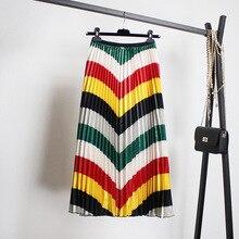Юбка с радужным принтом осенне-зимнее Новое Стильное женское платье в западном стиле с эластичной талией атласная плиссированная юбка с подкладкой