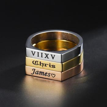 Custom Name Ring Stainless Steel Personality Rings For Women Men Jewelry Engraved Name Letters Word Rings Valentine's Day Gift vintage stainless steel snake rings for male motorcycle party personality steampunk couple rings animal rings men jewelry