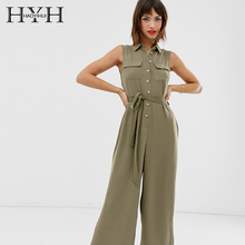 HYH Haoyihui New Autumn Ladies Casual Women Clothing Sleeveless Bow Tie Slim Fashion Lace Up Buttoned Elegant Jumpsuits