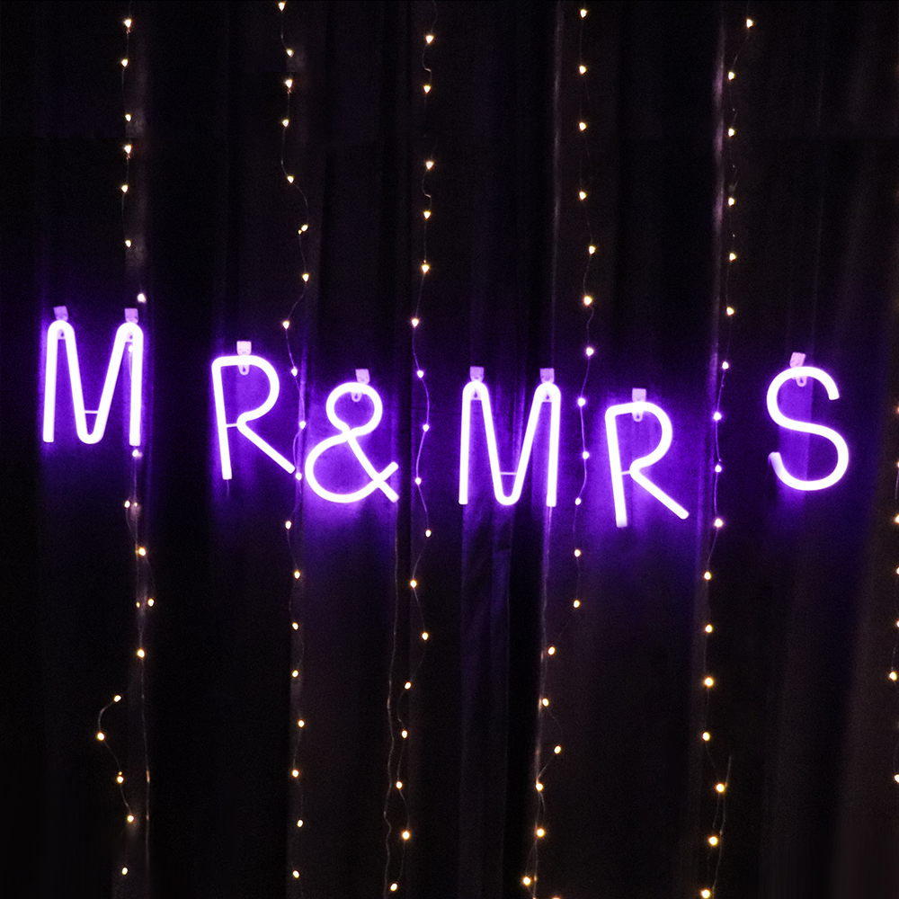 Purple Neon Letter Light LED Alphabet Neon Sign Decorative Light Up Words For Wedding Christmas Birthday Party Home Shop Bar