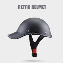 Casco de motocicleta medio casco de punto aprobado medio rostro Vintage casco de ciclismo alemán para hombres y mujeres