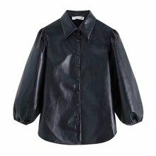 women vintage PU Leather lantern sleeve black blouses shirts