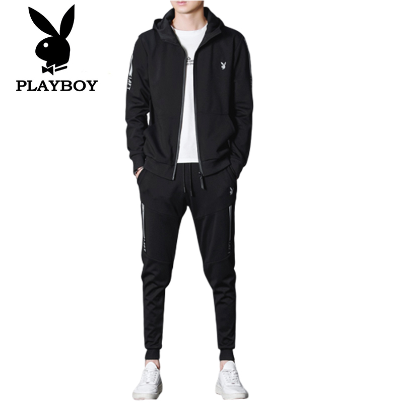 Playboy Fashion Men's Slim Cotton Comfortable Sweat-absorbent Breathable  Sports Running Clothes Jacket   Pants Two-piece Suit