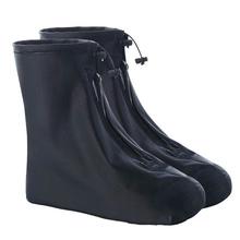 Mężczyźni kobiety pokrowce na buty do deszczu mieszkania kostki pokrowiec na buty pcv wielokrotnego użytku antypoślizgowy pokrowiec na buty z wewnętrzną wodoodporną warstwą tanie tanio KAIGOTOQIGO Waterproof Stałe Z tworzywa sztucznego raincoat rubber boots rain boots women