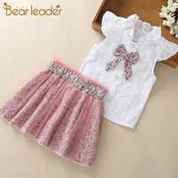 Urso líder meninas conjuntos de roupas novo verão sem mangas t-shirt + impressão saia arco 2 peças para crianças conjuntos de roupas do bebê roupas