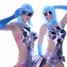 2020 패션 재즈 댄스 의상 실버 바디 수트 여성 DJ DS 가수를위한 점프 슈트 착용 폴 댄스 Gogo Dancer Outfits