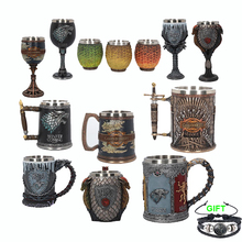 2020 New Game Of Thrones Mug Goblet Stainless Steel Resin 3D Beer Tankard Coffee Cup Wine Glass Mugs Song Of Ice And Fire Mug 200ml hot sale creative home decoration 3d resin skull shape stainless steel wine goblet