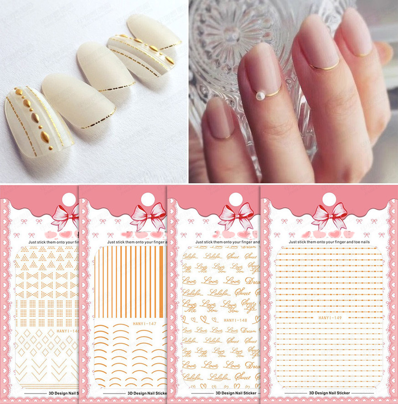 Gold 3D Nail Sticker Curve Stripe Lines Nails Stickers Adhesive Striping Tape Nail Art Stickers Decals Rose Gold Silver 1pcs