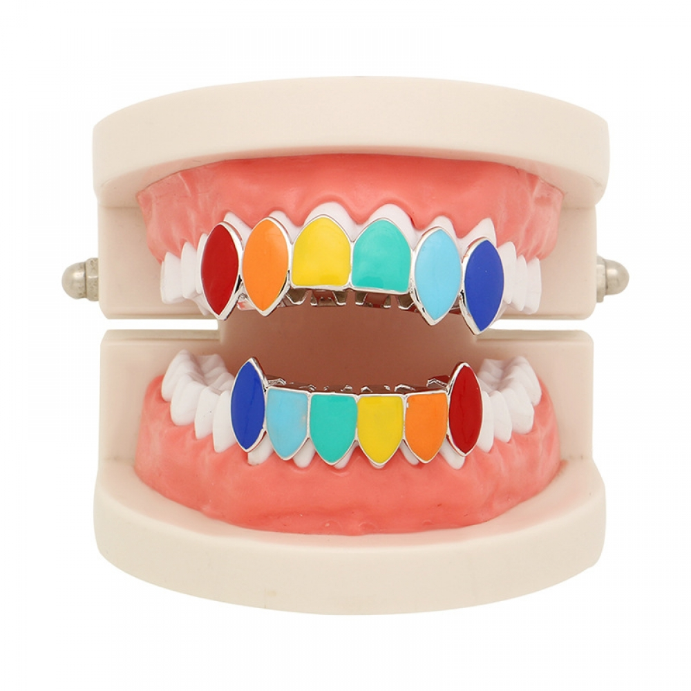 Hip Hop Gold Tekashi69 Rainbow Teeth Grillz Top&Bottom Colorful Grills Dental Halloween Vampire Teeth 2019 NEW