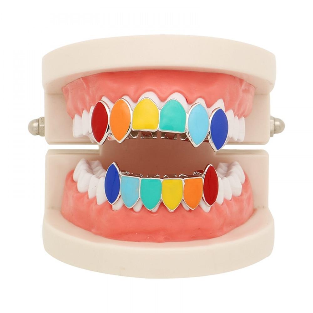 Hip Hop Gold Tekashi69 Rainbow Teeth Grillz Top&Bottom Colorful Grills Dental Halloween Vampire Teeth 2019 NEW