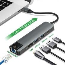 New 5 in 1 Type C Hub Hdmi 4K USB C Hub to Gigabit Ethernet Rj45 Lan Adapter for Mac book Pro Thunderbolt 3.0 USB-C