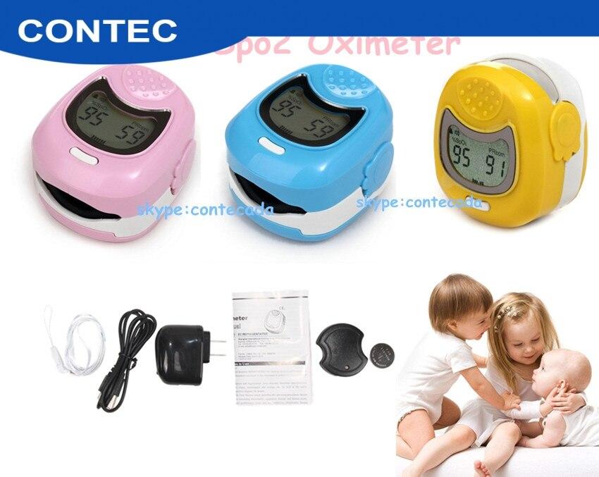Contec Pediátrica da frequência Cardíaca Do Bebê Crianças SPO2 pediátrica Oxímetro de Pulso de Oxigênio No Sangue Da Ponta Do Dedo Monitor de Oxímetro Casa CMS50QA