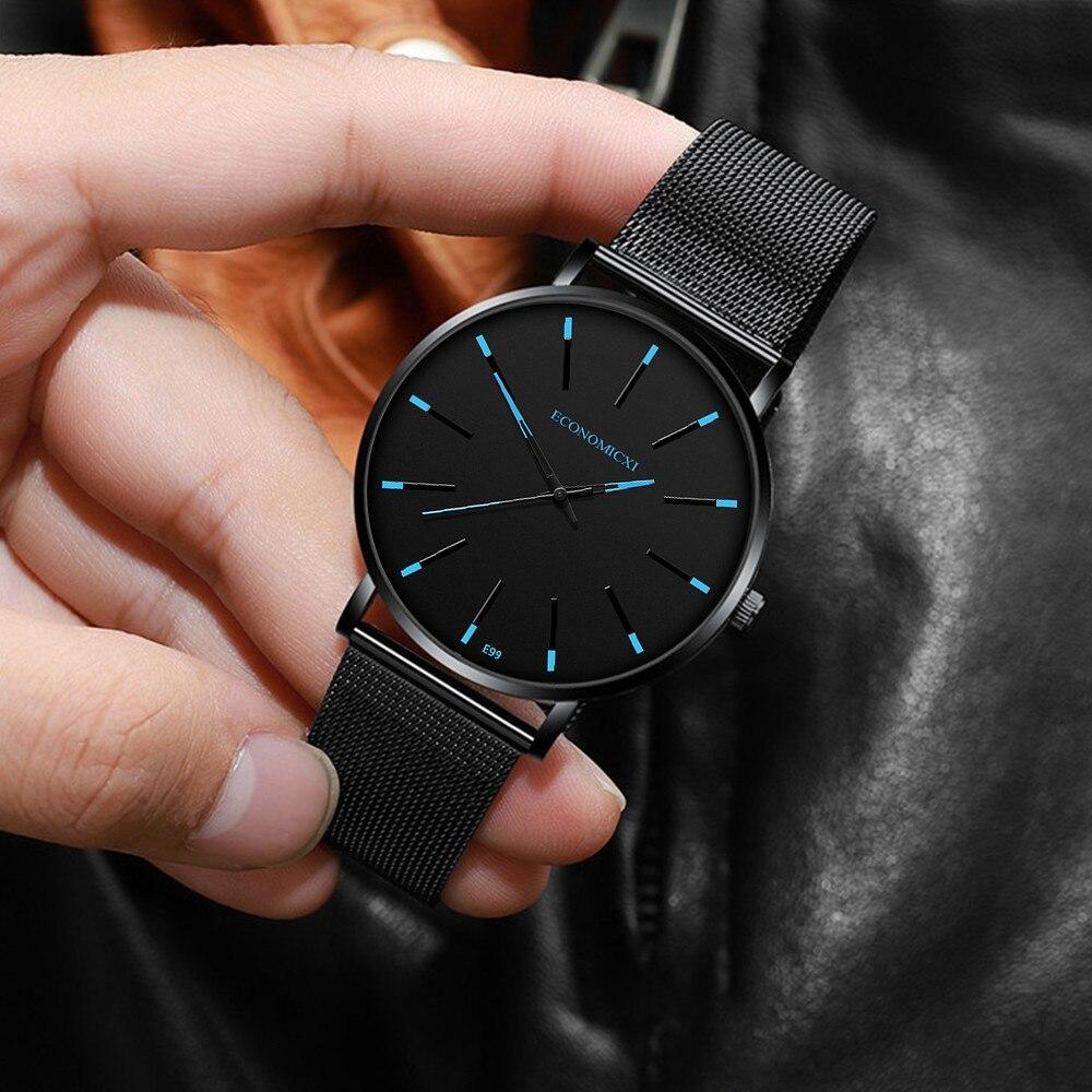 Mens Watch Luminous ECONOMICXI Brand Quartz Casual Business Male Waterproof Leather Strap WristWatch Clock Relogio Masculino
