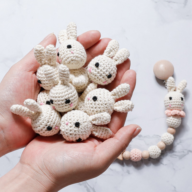 1PC Baby Pacifier Chain Crochet  Cute Rabbit Panda Beads DIY Wooden Teething Pacifier Clips Knitting Jewelry Crib Baby Product