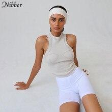 Nibber — Top tricot pour femmes, t-shirt nouvelle collection automne pur, haut en jersey décontracté stretch slim active vêtements noir sans manches, basique
