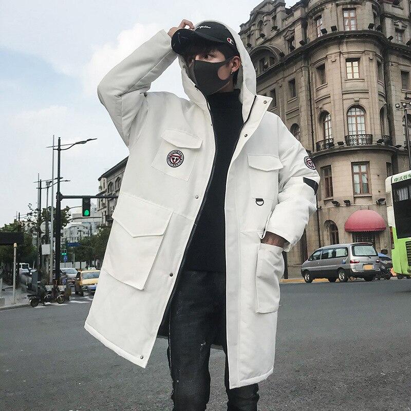 2019 Parkas d'hiver Vestes Hommes décontracté Hip Hop Épais Longs Manteaux De Mode Coupe-Vent Parka Homme Blanc Veste taille américaine DG329
