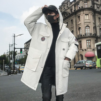 2019 Winter Parkas Jackets Men Casual Hip Hop Thick Long Coats Fashion Windbreaker Parka Male White Jacket US SIZE DG329