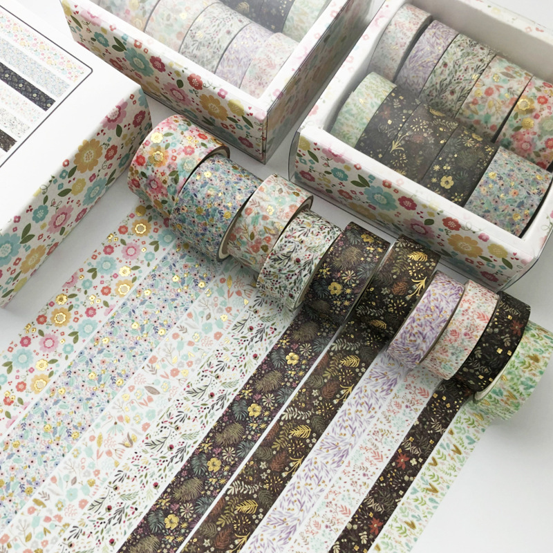 10 pcs/set flower gold Decorative Adhesive Tape Masking Washi Tape Diy Scrapbooking Sticker Label Japanese Stationery